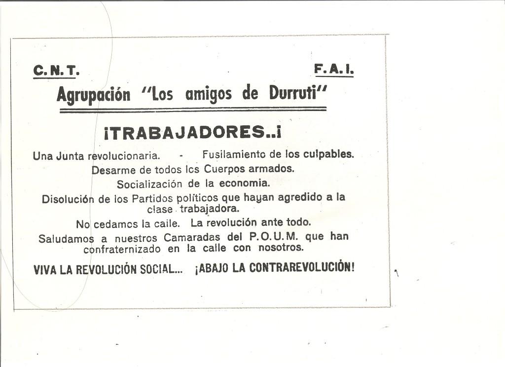 OCTAVILLA Amigos Durruti en barricadas mayo del 37